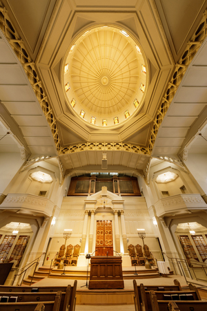 Oakland, California - September 30, 2018: Interior of Temple Sinai Reform Jewish Synagogue. Founded in 1875, it is the oldest Jewish congregation in the East San Francisco Bay region. Editorial