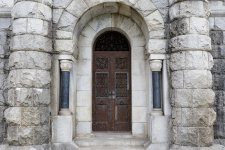 Door Entrance in Mountain View Cemetery. Oakland and Piedmont, Alameda County, California, USA. Stock Photo
