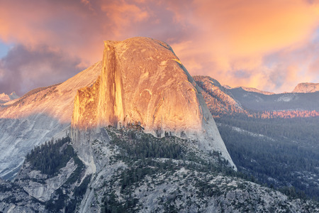 Sunset over Half Dome from Glacier Point. Yosemite National Park, California, USA.