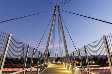 Dusk over Don Burnett Bicycle-Pedestrian Bridge (aka Mary Avenue Bicycle Footbridge). Cupertino, Santa Clara County, California, USA. 免版税图像