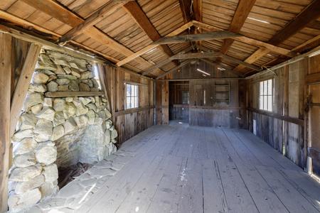 Inside an Old Abandoned Log Cabin in Wilder Ranch State Parks. Santa Cruz, California, USA. Stock Photo