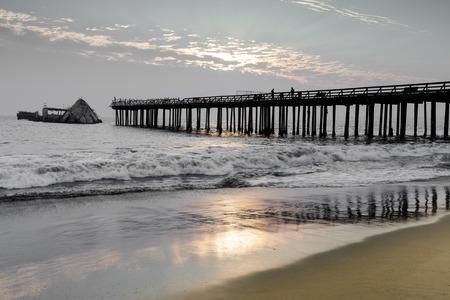 Sunset over Seacliff Pier and SS Palo Alto Shipwreck. Seacliff State Beach, Santa Cruz County, California, USA.