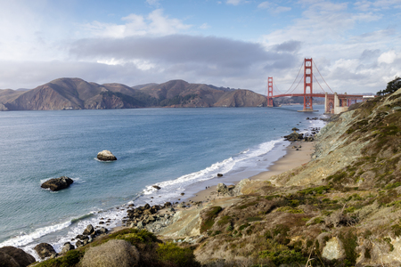 Marshalls Beach rugged shorefront with views of the Golden Gate Bridge and Marin Headlands. Coastal Trail, San Francisco, California, USA.