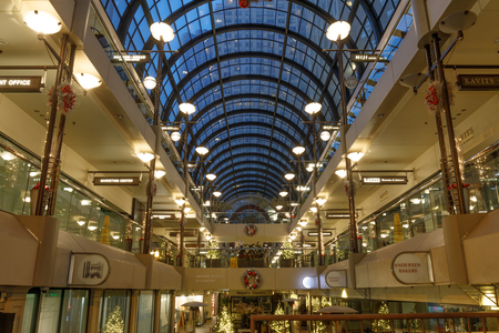 San Francisco, California - November 25, 2018: Interior of the Crocker Galleria Shopping Mall in the Financial District. Designer shops span three floors at this galleria featuring a glass dome. Editorial