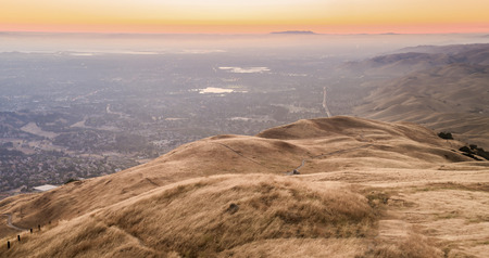 Silicon Valley Sunset during California Drought. Mission Peak Regional Preserve, Alameda County, California, USA.