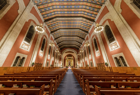 San Francisco, California - December 1, 2018: Interior view of St. Cecilia Church from Vicente entrance. St. Cecilia Church is a parish of the Archdiocese of San Francisco.  The parish primarily serves the Sunset District and neighboring Parkside, West Po