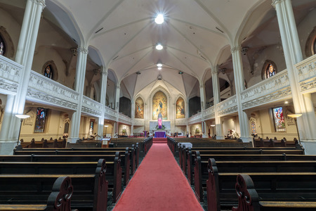San Francisco, California - December 1, 2018: Interior of Old St Mary's Cathedral. The Old Cathedral of St. Mary of the Immaculate Conception is a proto-cathedral and parish of the Roman Catholic Church located at 660 California Street at the corner of Gr Editorial