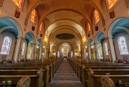 San Francisco, California - March 10, 2018: Interior of Church of Mission San Francisco de Asis, or Mission Dolores. Nicknamed Mission Dolores for a nearby creek, this 19th mission in Alta California is San Francisco's oldest intact building, dating bac