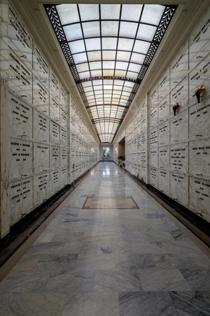 Oakland, California - December 7, 2018: Mausoleum corridor at Mountain View Cemetery. The Mountain View Cemetery is a 226-acre cemetery in Oakland, Alameda County, California.
