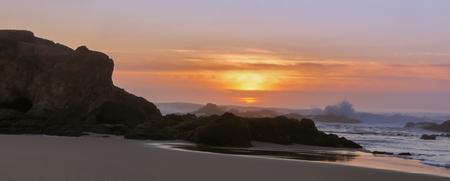 Panoramic sunset over Pescadero State Beach. Pescadero, San Mateo County, California, USA. Stock Photo