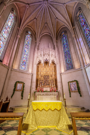 San Francisco, California - December 26, 2018: The Altar of Chapel of Grace in Grace Cathedral. The Chapel of Grace is an intimate side chapel attached to the main church and is the oldest part of the cathedral. It has 15 stained glass windows and the bea