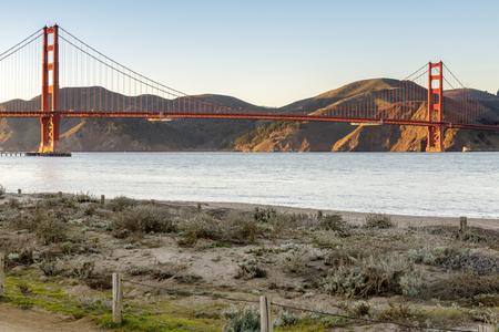 The Golden Gate Bridge as seen from West Bluff in Crissy Field. San Francisco, California, USA.