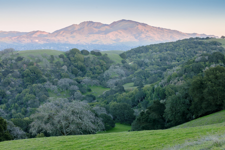 Mt Diablo as seen from Briones Regional Park at Sunset. Martinez, Contra Costa County, California, USA. 免版税图像