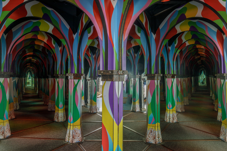 Monterey, California - March 31, 2019: Inside The Monterey Mirror Maze. Get Lost in the Fun, a mind-bending experience, awesome light & sound show, creativity designed, with dead ends and continuous c