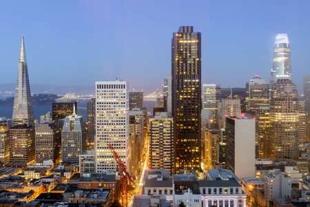 San Francisco Skyline on a clear evening sky. The Financial District as seen from an elevated spot in Nob Hill.