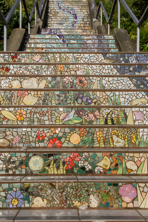 The 16th Avenue Tiled Steps Project. A community project in Golden Gate Heights, San Francisco to decorate a 163 step stairway with mosaic tiles. 報道画像