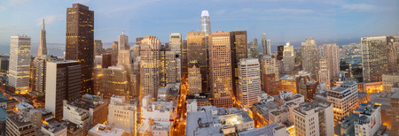 San Francisco Downtown Panorama. High above Union Square, San Francisco, California, USA.