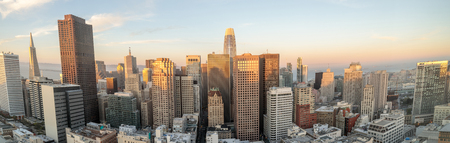 Panoramic sunset over San Francisco Downtown. High above Union Square, San Francisco, California, USA. 写真素材