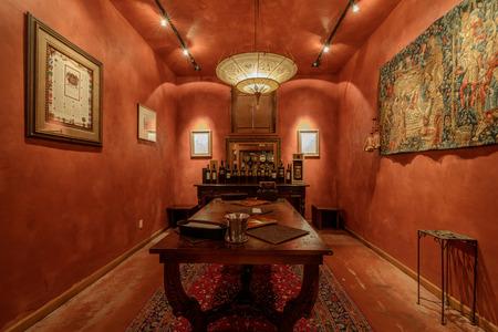 Napa, California - April 27, 2019: Wine Tasting Room in Del Dotto Historic Winery Caves in Napa Valley. Napa, Napa Valley, California, USA.