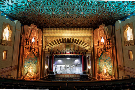 Oakland, California - May 4, 2019: Fox Oakland Theatre right after a live show. The Fox Oakland Theatre is a 2,800-seat concert hall, a former movie theater, located at 1807 Telegraph Avenue in Downto