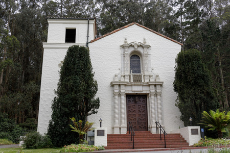 The Façade of the Presidio Chapel in San Francisco California. An historic Spanish Colonial Revival style chapel, built by the Army in 1931, with a breathtaking view of San Francisco Bay. 写真素材