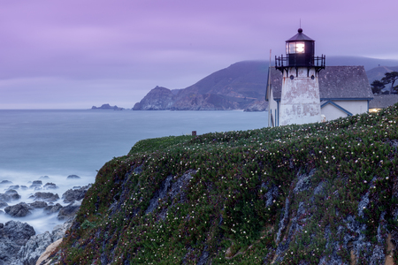 Twilight skies at Point Montara Lighthouse. Montara, San Mateo County, California, USA.