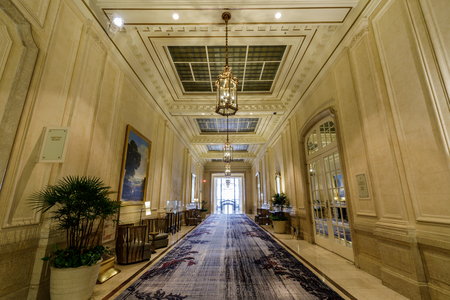 San Francisco California - May 19, 2019: Passage in the Palace Hotel. The Palace Hotel is a landmark historic hotel in San Francisco, California, located at the southwest corner of Market and New Montgomery streets. Redakční