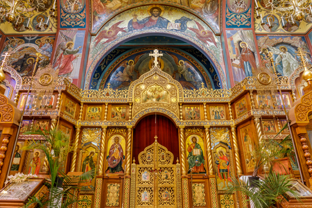 San Francisco, California - May 19, 2019: The Altar of the Holy Virgin Cathedral. The Holy Virgin Cathedral, also known as Joy of All Who Sorrow, is a Russian Orthodox cathedral in the Richmond District of San Francisco.