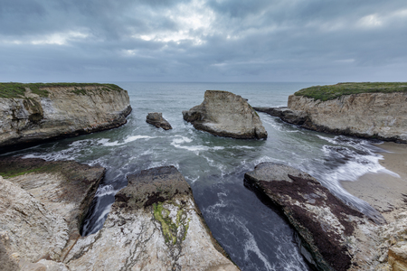 Panoramic view over Shark Fin Cove (Shark Tooth Beach). Davenport, Santa Cruz County, California, USA. Reklamní fotografie