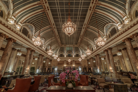San Francisco California - May 27, 2019: The Palace Hotels Garden Court Restaurant. The Palace Hotels historical glass-domed atrium (opened in 1909) is the setting for brunch or tea.