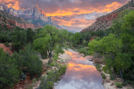 The colors of The Watchman. Zion National Park, Utah, USA. The view of the Watchman from Canyon Junction Bridge is one of the most highly photographed views in Zion National Park. Reklamní fotografie