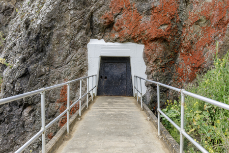 Point Bonita Lighthouse Tunnel Entrance In The Rock. Sausalito, Marin Headlands, California, USA. Reklamní fotografie