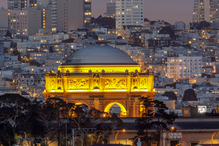The Palace of Fine Arts Glowing in Marina District. San Francisco, California, USA.