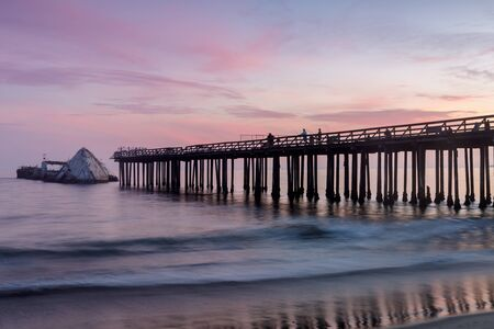 Twilight Sky over Seacliff Pier and SS Palo Alto Shipwreck. Seacliff State Beach, Aptos, Santa Cruz County, California, USA.