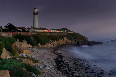 Pigeon Point Light Station and Hostel at Night. Pescadero, San Mateo County, California, USA.