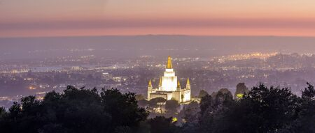 Oakland Temple and City from Oakland Hills. Oakland, Alameda County, California, USA. Reklamní fotografie