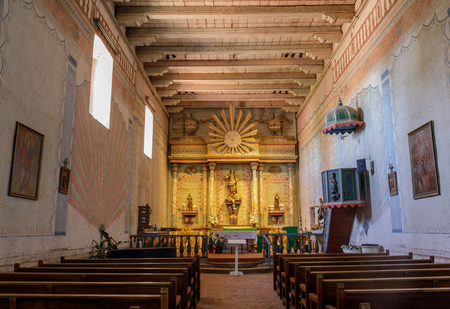San Miguel, California - July 20, 2019: Interior of Church of Mission San Miguel Arcángel. Redakční
