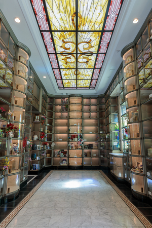 San Francisco, California - July 30, 2019: Inside Hall of Olympus at the San Francisco Columbarium.