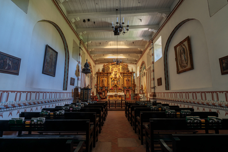 Mission Hills, California - July 21, 2019: Interior of Church of Mission San Fernando Rey de España. Mission San Fernando Rey de España is a Spanish mission in the Mission Hills district of Los Angeles, California.