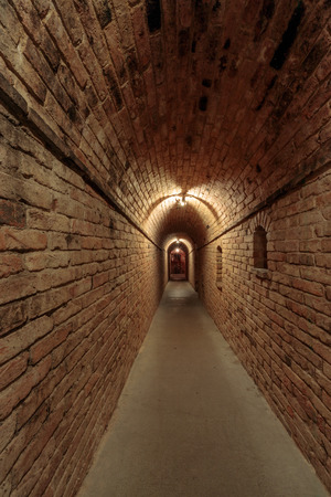 Calistoga, California - April 27, 2019: Underground Wine Cellar Passage in Castello di Amorosa.