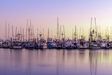 Boats Berthed at Pillar Point Harbor. Half Moon Bay, San Mateo County, California, USA. 免版税图像