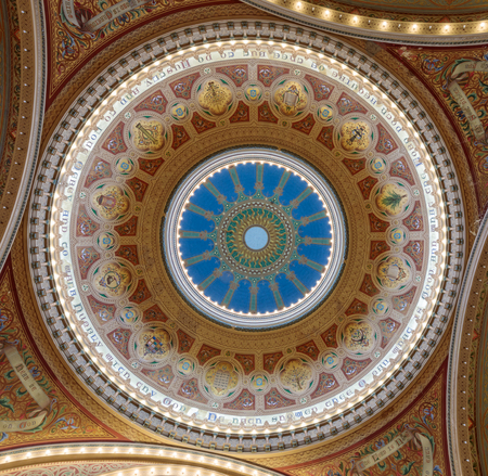 San Francisco, California - September 22, 2019: Dome of Congregation Sherith Israel. Congregation Sherith Israel (