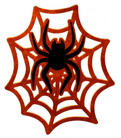 Black spider on red web isolated over white background. Creepy Halloween decoration. Stock Photo