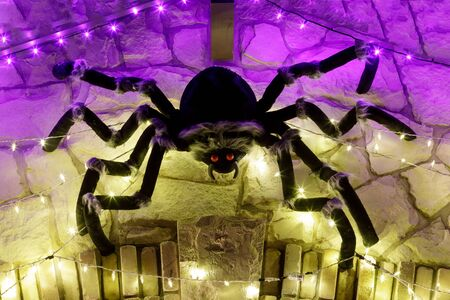 Halloween giant black spider in led lights web. Decoration on home exterior wall at night.