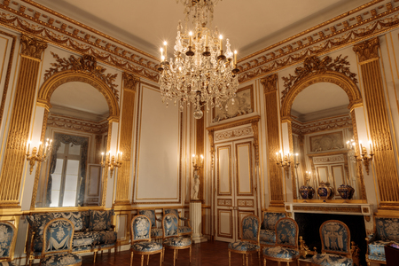San Francisco, California - November 16, 2019: The Salon Doré at the Legion of Honor. One of the most acclaimed examples of French Neoclassical interior architecture in the United States, the Salon Doré (moved from the Hôtel de La Trémoille in France)