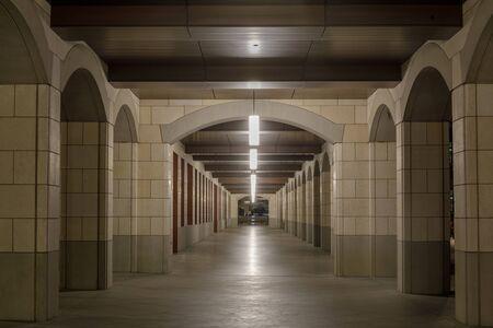 Empty Campus Hallway, Stanford, California