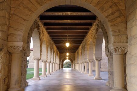 Arches and Columns Walkway in the Main Quad, Stanford University