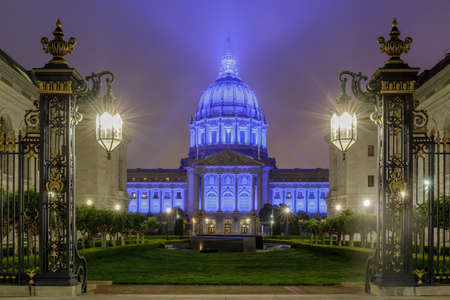 San Francisco City Hall Glowing in Blue, Honoring Health Care Workers during the Coronavirus Pandemic.