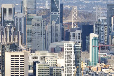 San Francisco Downtown Details. Crowded Skyline from Twin Peaks on a Clear Afternoon. Stock fotó