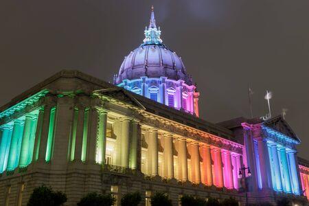 San Francisco City Hall lit in Rainbow celebrating Pride Week 2020